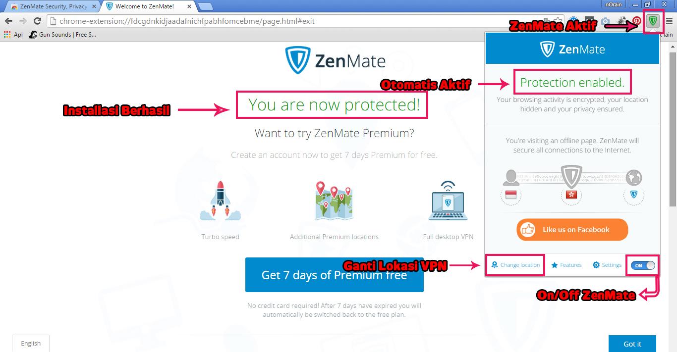Menggunakan ZenMate VPN di Google Chrome Step 4